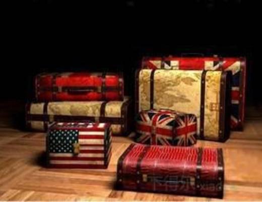 模型, 复古, loft, loft风格, 收纳箱, 行李箱, 箱子