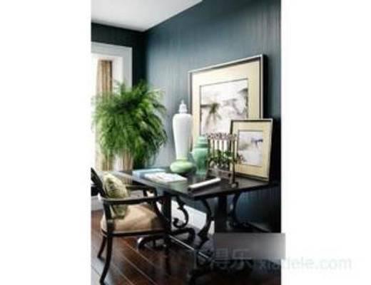 模型, 新中式风格, 书桌, 装饰品, 陶罐, 摆件, 瓷器工艺品