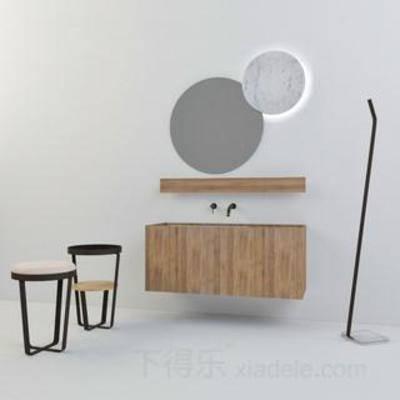 盥洗台, 水龙头, 洗手池, 套装, 镜子