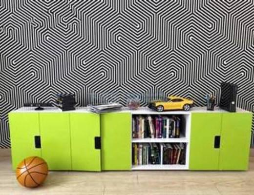 绿色, 多功能, 简洁, 柜, 家具, 置物柜, 书柜