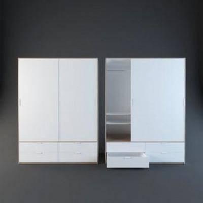 实木衣柜, 储物, 实木, 衣柜设计, 北欧, 家具, 衣柜, 简约, 模型
