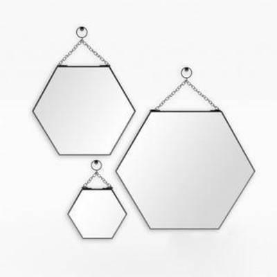 装饰镜, 蜂窝造型, 六边形, 极简, 镜面, 壁挂, 模型