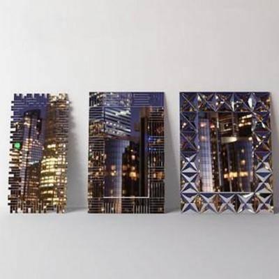墙饰画, 镜面, 都市, 装饰, 创意, 现代, 模型