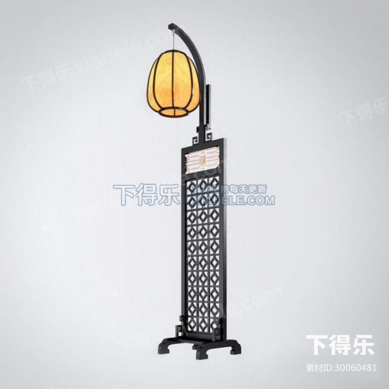 中式复古实木雕花宫廷落地灯