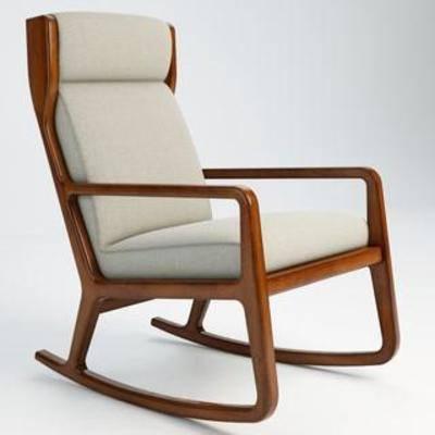 休闲, 现代椅子, 美式, 摇椅, 模型, 椅子