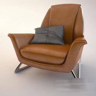 现代, 简约, 单人沙发, 模型, 沙发, 椅子