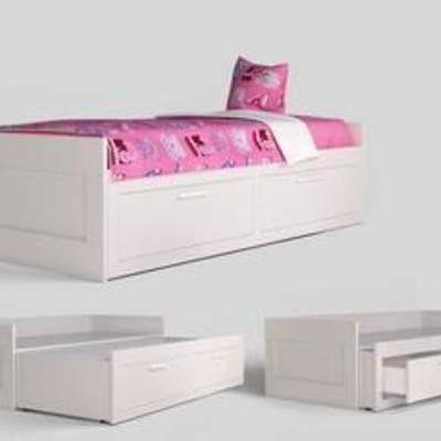 多功能, 收纳, 实木, 床具, 儿童, 家具, 模型, 现代床