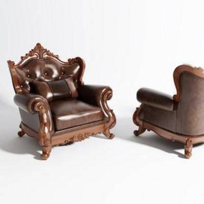 家具, 单人沙发, 古典, 模型, 欧式, 沙发