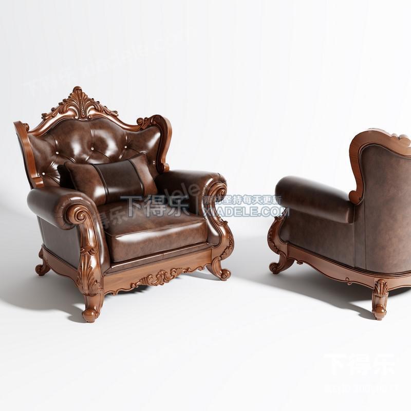 欧式古典雕刻真皮沙发,椅子