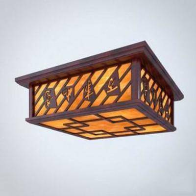 正方形, 实木, 木艺, 雕花, 吸顶灯, 古典, 模型, 照明, 中式, 灯饰