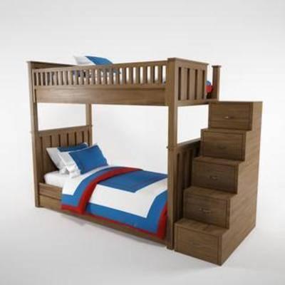 上下层, 实木, 床具, 家具, 楼梯, 美式, 简约, 模型