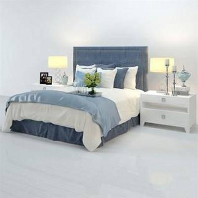 田园风格, 床具, 家具, 美式, 模型