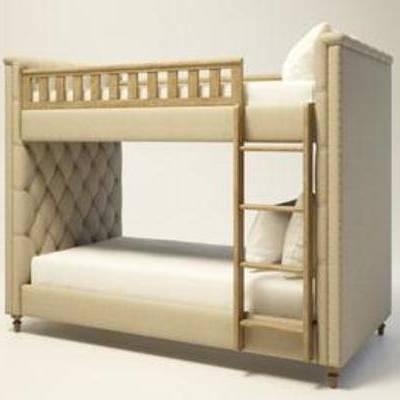 梯子床, 乡村, 实木, 床具, 上下铺, 美式, 简约, 模型
