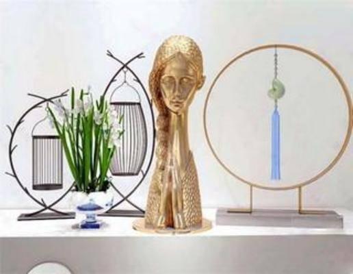 陈设品组合, 艺术, 摆件, 摆设, 雕塑, 装饰, 简约, 模型, 中式