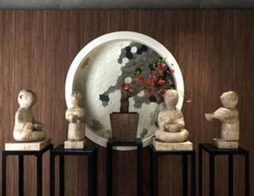 陈设品组合, 石雕, 陈设, 摆件, 摆设, 人物, 装饰, 模型, 中式