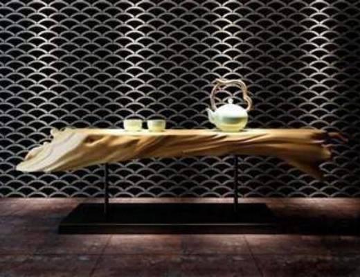 树桩, 陈设, 茶具, 摆件, 摆设, 茶几, 装饰, 模型, 中式