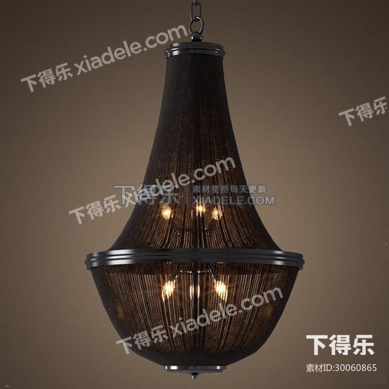 新古典中国风木艺雕花红灯笼宫廷吊灯