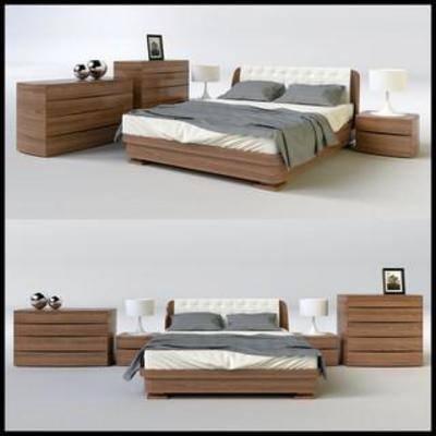软体床组合, 家具床具, 现代床头柜, 简约