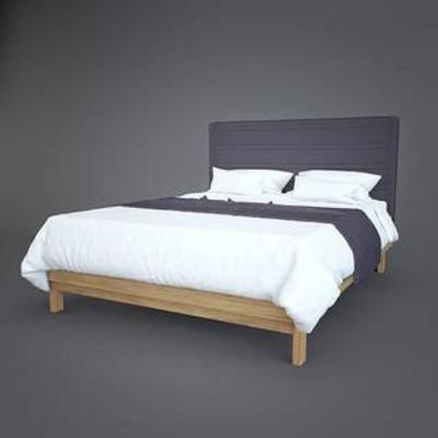 实木, 床具, 家具, 现代, 简约, 模型