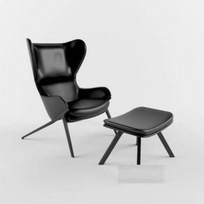 单人椅凳组合, 背靠椅, 休闲, 软包, 现代椅子