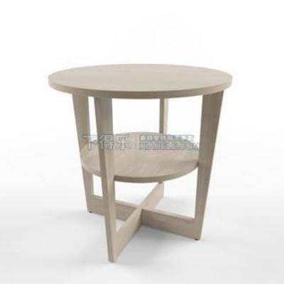 圆形双层桌, 实木茶几, 宜家家居, 咖啡桌, 现代简约, 茶几, 简约茶几