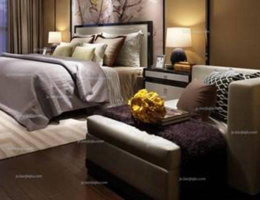 新中式, 卧室, 床头柜, 台灯, 床, 沙发椅, 地毯