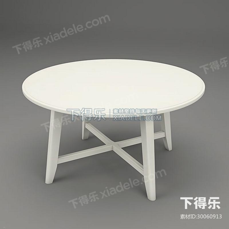 欧式白色圆形实木边桌茶几