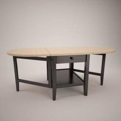 美式餐桌, 实木餐桌, 餐桌, 翻板餐桌