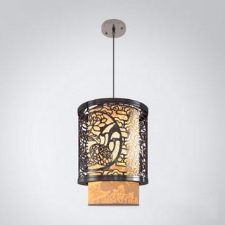 新中式仿古实木雕花镂空圆柱中国风宫廷吊灯