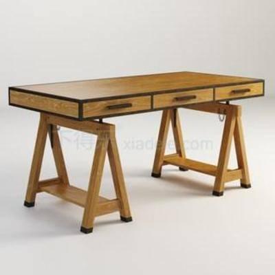 3D模型下载, 现代简约, 抽屉, 3dmax模型, 方形矮桌, 现代书桌, 简约书桌, 实木书桌