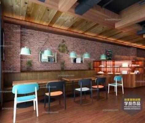 奶茶店设计, 3dmax模型, 学员作品, 特训营, 现代简约风格, 效果图, 3D模型下载