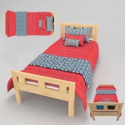单人床, 拼板床, 纯实木, 床具, 儿童床, 现代, 简约