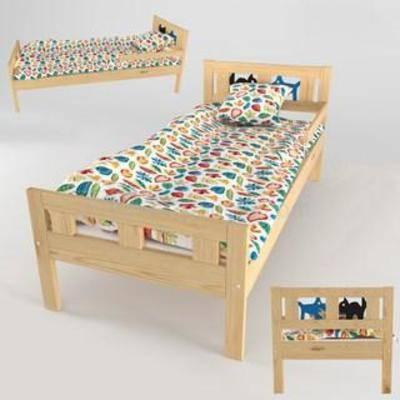 实木, 床具, 家具, 原木, 美式风格, 模型