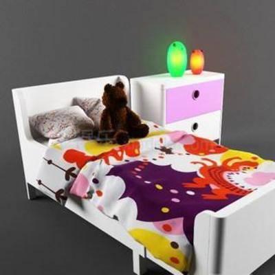 实木床, 欧美风, 儿童床, 床头柜, 收纳柜