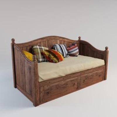 推拉床, 坐卧两用, 实木沙发, 沙发床, 软包, 罗汉床