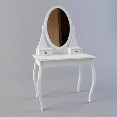 方形, 梳妆台, 实木化妆桌, 首饰桌, 化妆桌镜, 欧式梳妆台