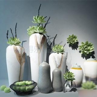 新 中式 纯色陶罐花瓶装饰组合