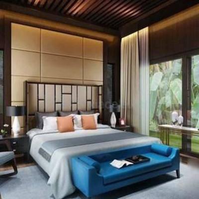 新中式, 卧室, 床头柜, 台灯, 床, 窗帘, 单椅