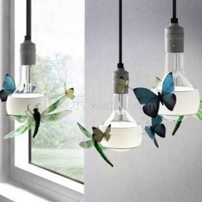 创意灯泡, 蝴蝶, 现代创意, 装饰, 灯罩, 照明, 现代吊灯, 创意吊灯