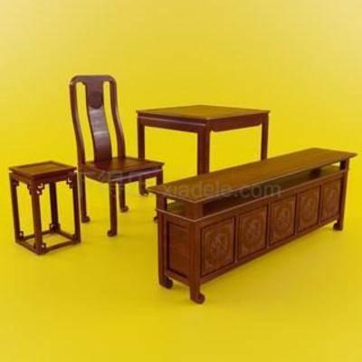新古典, 桌椅组合, 新中式椅子, 新中式, 新中式茶几, 新中式长木柜, 中式