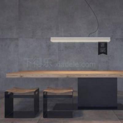 曲形木凳, 长形吊灯, 铁木桌, 金属底座, 实木桌, loft风格, 工业风, 美式风格, 桌椅组合, 餐桌