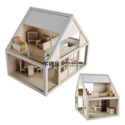 木屋, 玩具屋, 儿童玩具, 实木