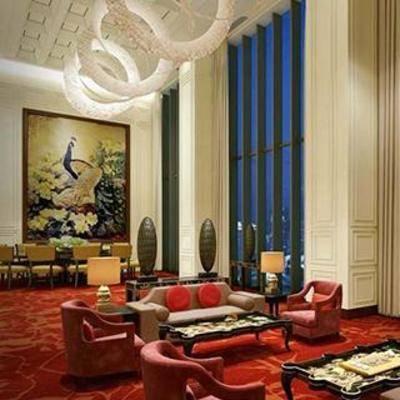 沙发组合, 吊灯, 沙发茶几组合, 布艺沙发, 装饰画, 现代酒店