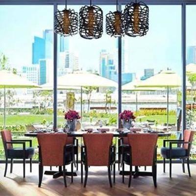 餐桌椅组合, 桌椅组合, 现代餐厅, 餐具, 餐桌椅子, 木艺吊灯, 实木桌子, 皮艺椅子, 实木餐边柜, 现代