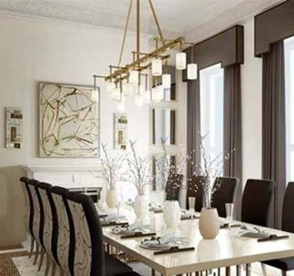 餐桌椅组合, 桌椅组合, 现代餐厅, 铁艺吊灯, 布艺椅子, 餐具, 餐桌椅子, 装饰画, 布艺窗帘, 花盆, 大理石铁艺桌子, 现代