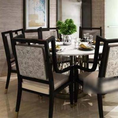 现代吊灯, 餐桌椅组合, 桌椅组合, 现代餐厅, 餐具, 餐桌椅子, 装饰画, 实木布艺椅子, 大理石铁艺桌子, 现代