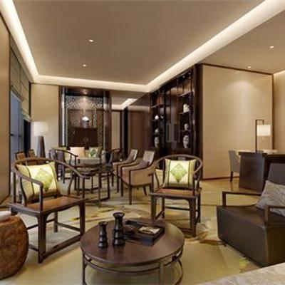 新古典, 新中式, 实木椅子, 实木茶几, 洽谈区, 实木博古架