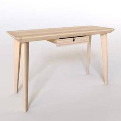 方形长桌, 实木桌, 北欧简约, 书桌, 欧式风格
