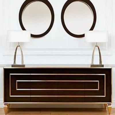 金属雕饰, 欧式装饰柜, 欧式边柜, 柜, 壁饰, 收纳柜, 台灯, 欧式风格