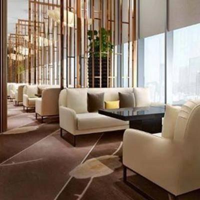 吊窗帘, 大理石茶几, 餐桌椅子, 布艺沙发, 现代餐厅, 餐厅设计, 餐桌椅组合, 现代吊灯